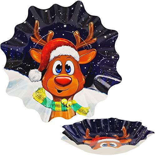alles-meine.de GmbH großer Teller / Plätzchenteller / Geschenketeller - süßes Rentier - Ø 28 cm - rund - Mehrweg - Pappe - Weihnachtsteller / Keksteller - Weihnachten - Plätzchen..