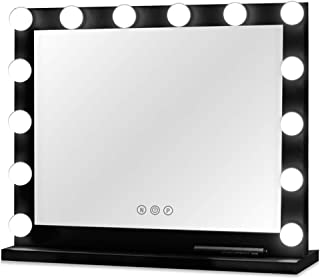 Lighted Vanity Mirror with Touch Screen Adjustbale Brightness, Tabletop Hollywood Style Makeup Mirrors with 14 Big LED Bulbs Black