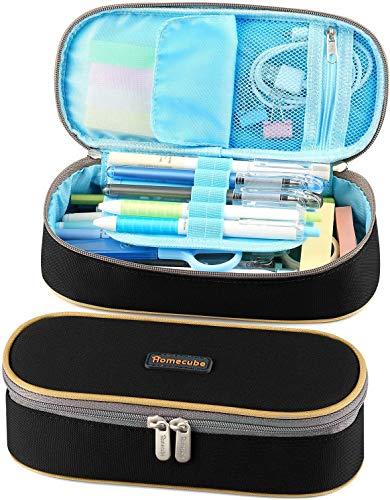 Pen Case, Homecube Big Capacity Waterproof Pencil Bag Oxford Make-up Pen Pouch Durable Stationery Bag Pen Holder for Man & Women, Black