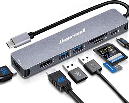 Docking Station,4K USB C Laptop Docking Station,Hiearcool 8 in 1 Triple Display Dual HDMI Type C Adapter Compatiable for Thunderblot3 MacBook and Windows(2HDMI PD SD/TF Card Reader 2USB )