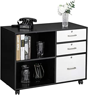 """Bonnlo Wood File Cabinet with 3 Drawer and 2 Open Shelves Office Storage Cabinet with Wheel Printer Stand, 35.5""""L x 15.7""""W x 26""""H"""