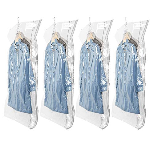 Hanging Vacuum Storage 4 Pack Space Saver Bags (Jumbo 53.1 x 27.6 inches) Garment Cover Durable & Reusable Ideal for Suits, Coats, Jackets, Dresses, Trousers, Closet Organizer
