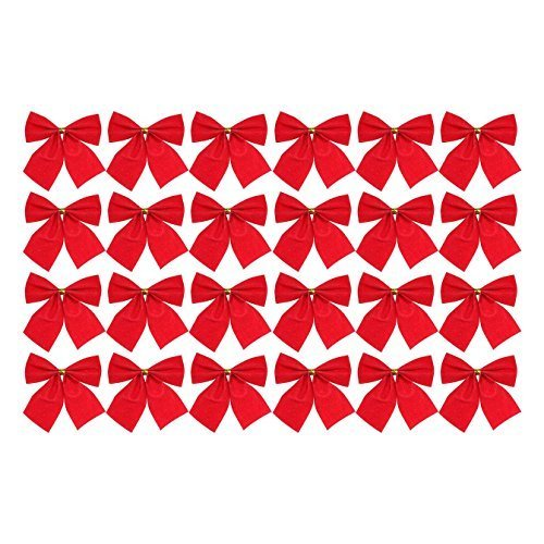 Robelli Pack of 24 Red Christmas Tree Tie-On Velvet Bow Decorations