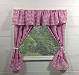 Vorhänge für Kinderspielhaus ~ Vichy-Karo in rosa mit Querbehang - inklusive Befestigungsmaterial...