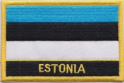 Estland Flagge Patch Aufnäher Bestickt, Rechteckig, Zum Aufnähen oder Aufbügeln, Exklusives Design von 1000 Flaggen
