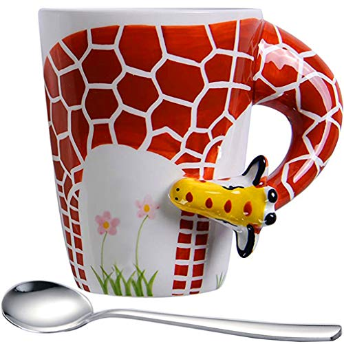 3D Giraffe Coffee Mugs with Long neck Design Cute Deer Giraffe Mugs14oz Porcelain Cup Milk and Coffee  Perfect for Travel or Decorations for Jungle Event