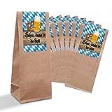 25 kleine braune Bayern-Tüten + Pergamin-Einlage und Boden (7 x 20,5 x 4 cm) + Sticker Banderole 'Schee, dass´d do bist' im bayerischen Stil in blau weiß kariert Tischkarten Kekse...