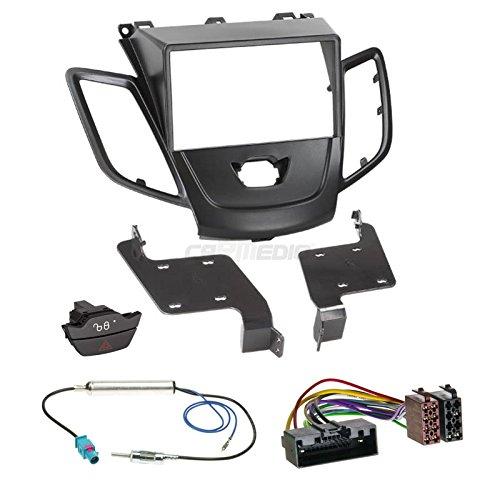 Carmedio Ford Fiesta JA8 ohne Display 10-13 2-DIN Autoradio Einbauset in original Plug&Play Qualität mit Antennenadapter Radioanschlusskabel Zubehör und Radioblende Einbaurahmen schwarz