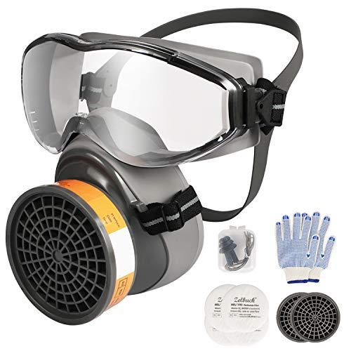Zelbuck 8100 Professionelle Wiederverwendbare Halb Gesicht Abdeckung mit Schutzbrille für Handwerker, Heimwerker, Farbspritz und Pestizid usw