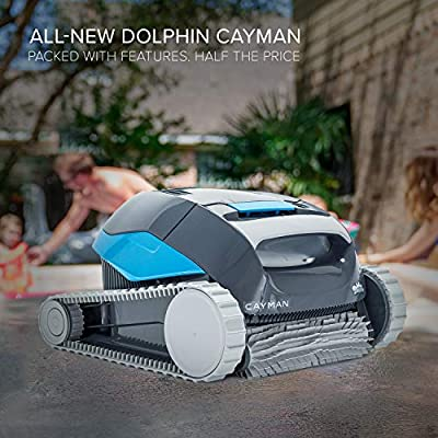 DOLPHIN Cayman Automatic Robotic Pool Cleaner with Single Button Operation and Large Capacity Top Load Filter Basket Ideal for In-ground Swimming Pools up to 33 Feet