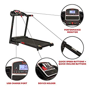 Sunny Health & Fitness Electric Treadmill with Auto Incline, LCD and Pulse Monitor, Tablet Holder and USB Charging, 220 LB Max Weight - SF-T7861