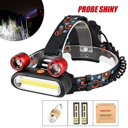 Preisvergleich Produktbild FENSIN Stirnlampe LED,  Kopflampe Taschenlampe 15000LM 2x XM-L T6 LED + COB wiederaufladbares 18650 Scheinwerfer-Hauptscheinwerferset für Nacht Angeln Laufen Jagd Lesen