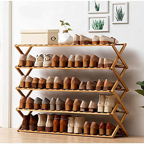 HHTX Zapatero Plegable de 5 Niveles, Estante portátil de bambú para Almacenamiento de Zapatos, Almacenamiento de Botas Que Ahorra Espacio, Estante para Zapatos sin instalación para dormitorios, c