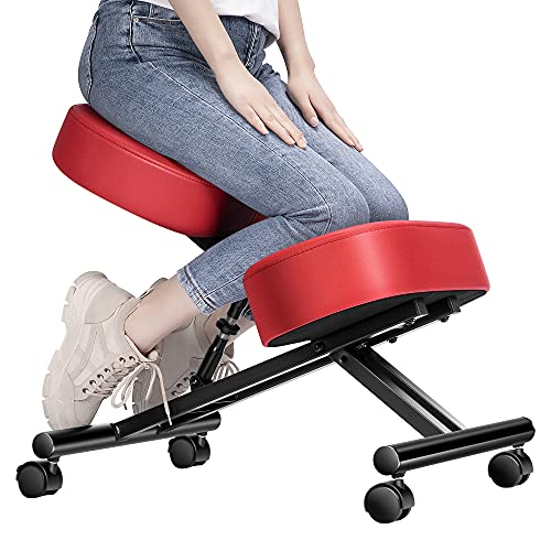 Ergonomic Kneeling Chair Adjustable Stool with Thick Foam Cushions and Smooth Gliding Casters for...
