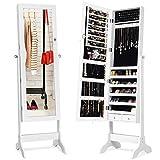 COSTWAY Armadietto Porta Gioielli con Specchio e Supporto, Ideale per Camera da Letto, 156 x 37 x 46cm (Bianco)