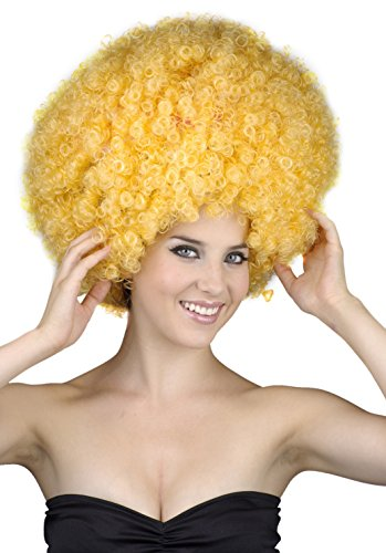 Rire Et Confetti - Fiedis055 - Accessoire pour Déguisement - Perruque - Afro - Taille XL - Jaune