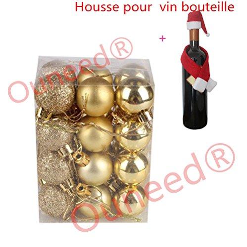 Ouneed Boule de Noel Sapin de Noel Boules 3cm 24pcs Ambiance Decoration Noel (Or)
