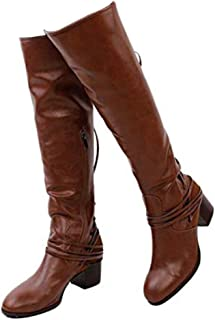 Susanny Women's Wide Calf Knee High Boots Low Chunky Heel Shoes Fashion Zipper Strappy Retro Riding Boot