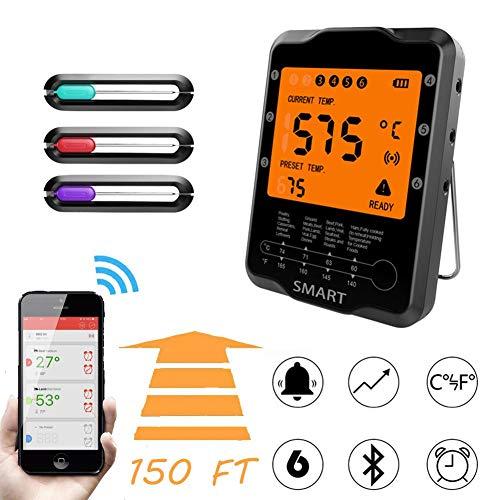 Ecisi Drahtloses digitales Fleischthermometer zum Grillen, BBQ-Kochthermometer mit großem LCD-Display, Instant Read-Kochthermometer, Unterstützung für iOS und Android