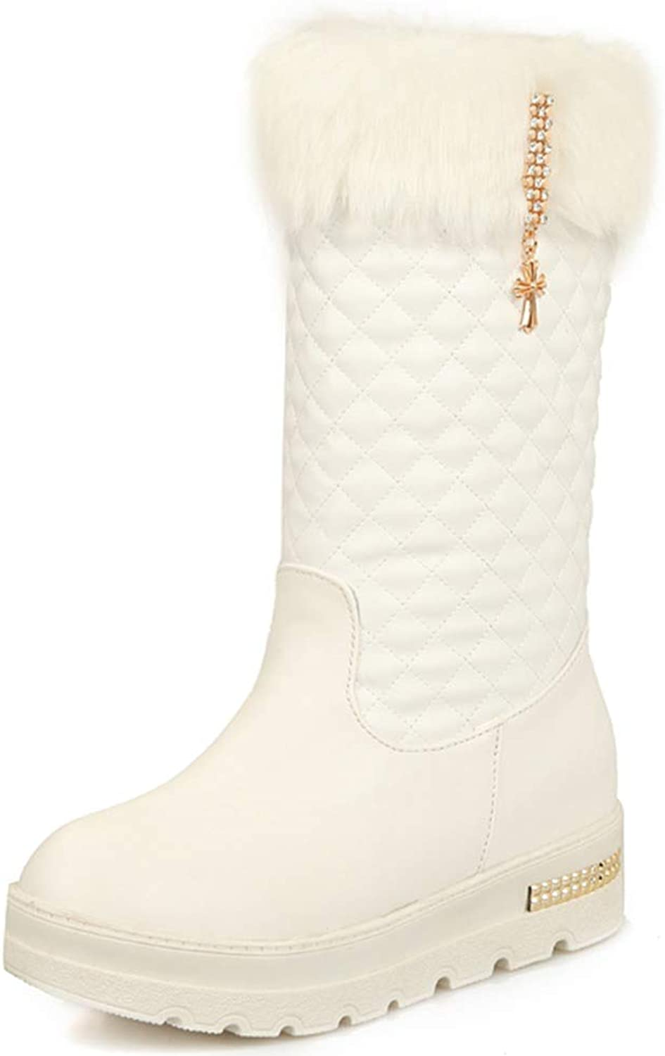 Kaloosh Women's Fashion Pendant Diamond Quilted Round Toe Mid Calf Boots