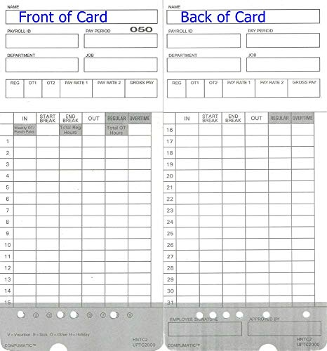 300 Time Cards for uPunch HN4000 AutoAlign Calculating Time Clock (Fits All HN2000, HN4000, HN4500, HN6000 Time Recorders and Bundles)
