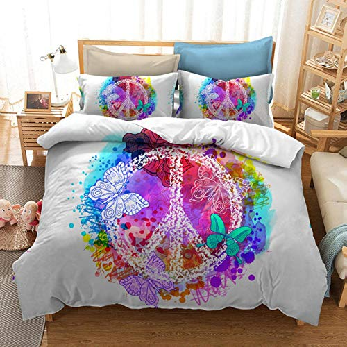 uoLingYan Colorful Duvet Cover Set Peace Bed Linen Set 3D Bedclothes car New Year Bed Set Home Bedding Set 2/3pcs Flower Home Bed modern,White Peace,AU Double