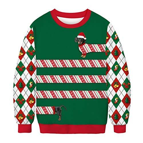 HMMJ Unisex 3D suéter con Capucha de Navidad Animal Divertido de Navidad Elf Impreso de Manga Larga con...
