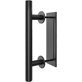 Homlux 12 Heavy Duty Pull and Flush Door Handle Set Black Powder Coated Finish Square Shape Sliding Barn Door Handle Fit 1 3//8-1 3//4 Thickness Door Panel Pack of 2 Black