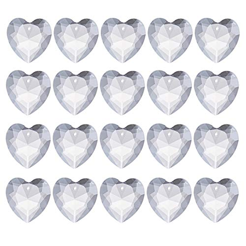 longsheng 20pcs Crystal Prisms Heart Shape Chandelier Drop Parts Hanging Pendants Curtain Lamp Drop 28mm Rainbow Maker Wedding Decor
