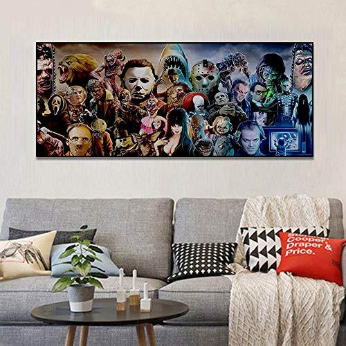 Horrorfilm Karakter Groep Posterafdrukken Muurafbeeldingen voor woonkamer Aquarel Muurdecoratie Canvas schilderij E 60x100cm Geen lijst