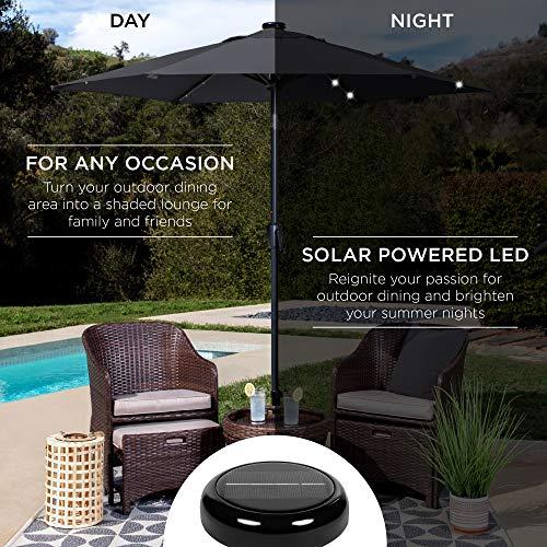 Best Choice Products 7.5ft Outdoor Solar Market Table Patio Umbrella for Deck, Pool w/Tilt, Crank, LED Lights - Black