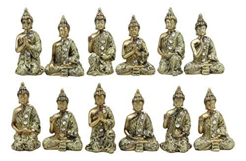 Ebros Gift Golden Miniature Meditating Buddha Amitabha Figurine Set of 12 in Different Mudra Poses Collectible 3.25' Tall Eastern Enlightenment Feng Shui Buddhist Monks