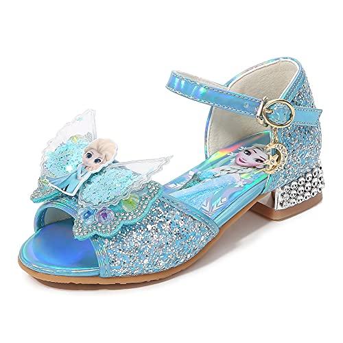 YOSICIL Zapatos de Princesa Frozen de Tacón Zapatos de Lentejuelas de Niña Sandalias de Baile para Vestir Fiesta Cumpleaños Boda Infantil 3-14 Años