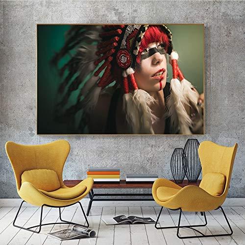 Geiqianjiumai Indiaas meisje heeft portret-zeildoek-verf ingeborenen met veren en bedrukt Scandinavische muurschilderingen, woonkamer-frameloze verf