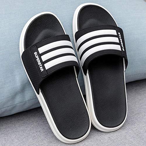HUSHUI Bañarse Sandalias Zapatillas para Mujer,Sandalias Antideslizantes Resistentes al Desgaste, Chanclas de Moda para Exteriores-Negro 4_38-39,Zapatos de Playa y Piscina para