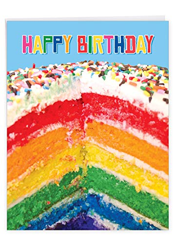 Large Birthday Greeting Card With Envelope 8.5 x 11 Inch - 'Rainbow Cakes' Happy Appreciation Card - Sliced Rainbow Cake Sprinkled With Rainbow Sprinklers On Top - Birthday Cake Card J6565FBDG