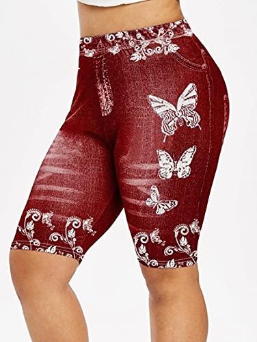 ArcherWlh Pantalones De Yoga,Pantalones Deportivos de la Mariposa de la impresión de la Mariposa Denim Pantalones de Yoga Hip-Vino Tinto_S