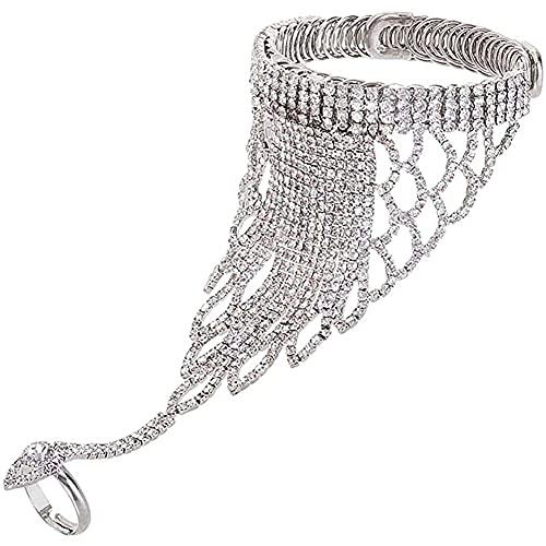 chaosong shop Pulsera de cadena de mano de cristal con anillo de esclavo de cadena de eslabones de dedo para mujeres y niñas, dama de honor