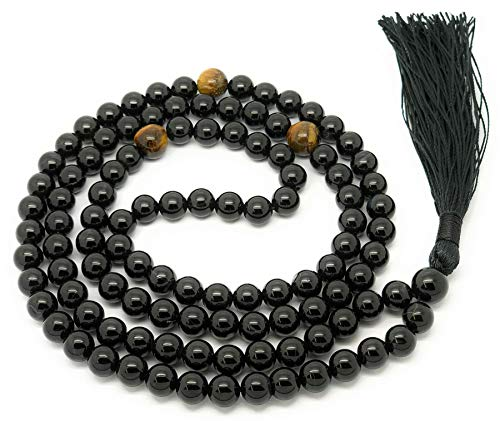 Givereldi Onice nero collana di perle di mala 108 perle di 6 mm di larghezza - seduta schiena contro schiena più 1 grossa perla di guru - collana di preghiera, meditazione o nappa