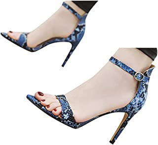 Summer Sandals for Womens High Stiletto Pump Snake Sandals Ankle Strap High Heels Open Toe Sandals by Gyouanime