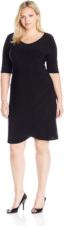 Star Vixen Women's Plus-Size Elbow Sleeve Side Rouch Skater-Waist Seam Short Dress