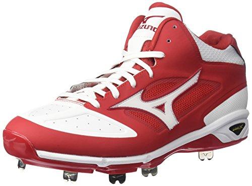 Mizuno - Scarpe da Baseball da Uomo Dominant IC Mid, Rosso (Rosso/Bianco), 42.5 EU