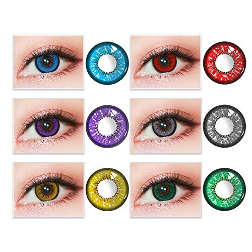 HFXLH 1 Pair of Love Words Style Halloween Cosplay Colorful Cosmetic Contact Lenses, cute and charming eyes, suitable for men and women makeup(Random Color)