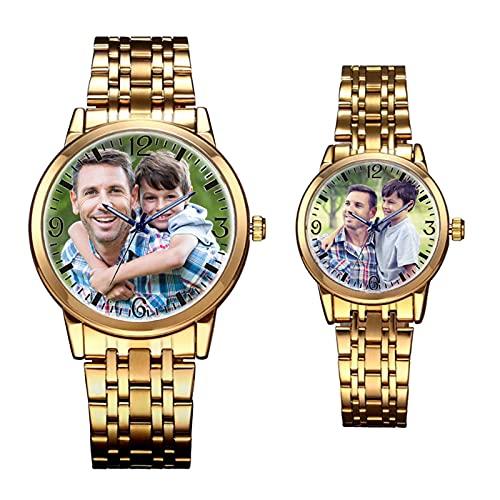 Reloj con Foto Personalizado con Nombre Reloj Dorado Personalizado con Foto Regalo con Foto para El Día del Padre Graduación Regalos para El Día del Padre para Hombres Mujeres (Una Pareja)
