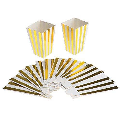 10x Popcorn Popcorntüten Popcornbecher Papier Bonbons Becher Golden Streifen