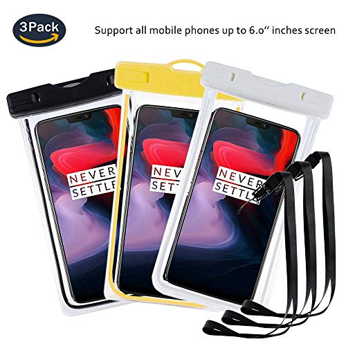 pinlu® 3 Pack IPX8 Wasserdichte Tasche, für Smartphones bis 6 Zoll, für Alcatel One Touch Go Play, Alcatel One Touch Idol 2, Alcatel Shine Lite, sandproof Protective Shell -Schwarz+Weiß+Gelb