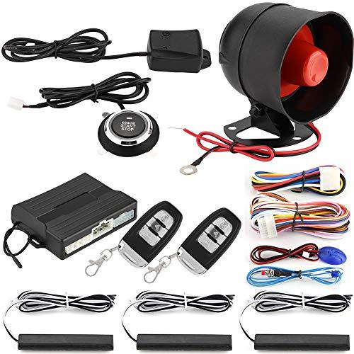 Qiilu Auto Alarmanlagen, Smart PKE Passiver Autoalarmanlage mit einem Tastendruck, Start-/Stopp-Kit, Stoßsensor, Alarmsicherung