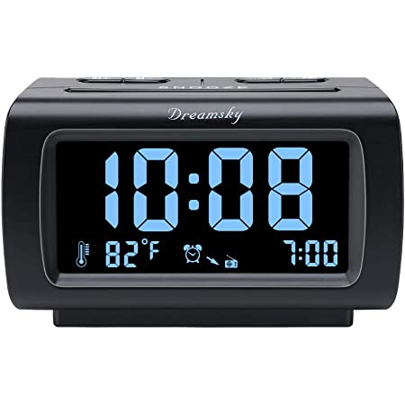 DreamSky Alarm Clock Radio FM with USB Port for Bedroom, 1.2 Inch Bold Digit Display with 0%-100% Dimmer, Temperature, Snooze, Adjustable Alarm Volume, Sleep Timer, 12/24H