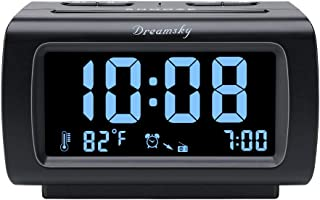 DreamSky Alarm Clock Radio FM with USB Port for Bedroom, 1.2 Inch Blue Digit Display with 0%-100% Dimmer, Temperature, Sno...