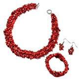 Shop LC Delivering Joy Coral Bracelet Earrings Necklace Stainless Steel Fashion Prom Jewelry Sets for Women Size 6.5' 18'